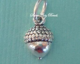 Sterling Silver Acorn Charm -10mm