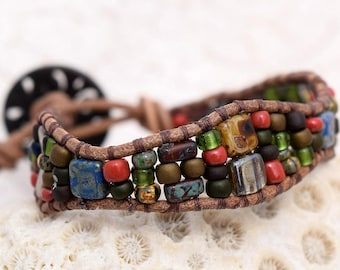 Single wrap, Czech Mate, and seed bead, leather bracelet, by Helen Jewelry, Jewellry, Handmade, One of a kind, Unique,