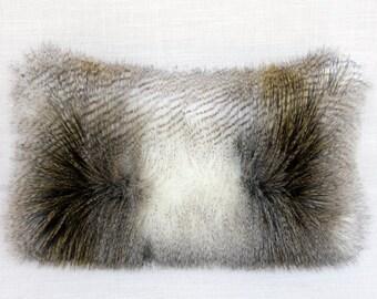 "Decorative Pillow Case, White, Grey, Ochre faux Fur fabric Lumbar pillow case, fits 12""x 20"" insert,  Home Decor"