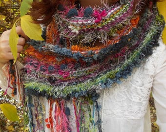 Colorful knit scarf...winter fashion, airy soft hand knit rustic boho pom pom scarf, textured shawl, gift for her.