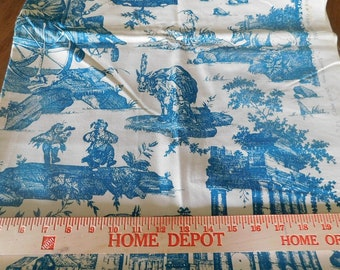 Destash-Over 1 Full Yard of Teal and Cream Toile Fabric by Brunschwig and Fils- Les Comediens Ambulants (A-048)