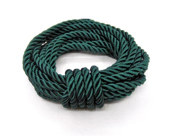 5mm Dark Green Satin Twisted Cord, Wrapped Thread Cord, Polyester Braided Cord, Rope Cord - 2 Yards/ 1.84m approx.(1 piece)
