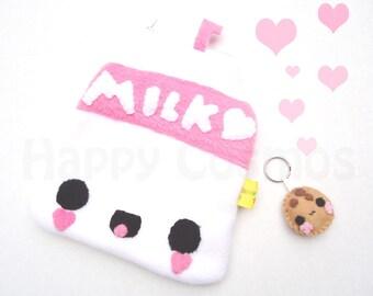 Milk Zipper Pouch - Pencil Pouch, Pencil Case, School Supplies, Make Up Bag, 3DS Case, Phone Case, Coin Purse