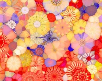 Handmade Artist Cotton Fabric Fiber Art By The Yard Yellow Red Pink Kaleidoscope Quilting