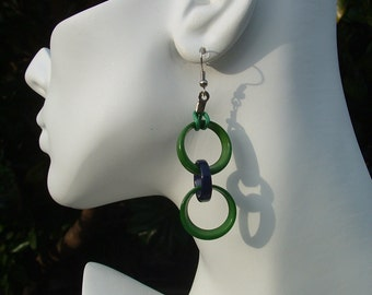 Dangling long tagua chained earrings colorful color block combinations