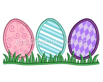 Easter Egg Row Applique Machine Embroidery Design Pattern Decorated Painted Eggs INSTANT DOWNLOAD