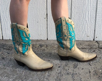 Turquoise and Tan Cowboy Boots