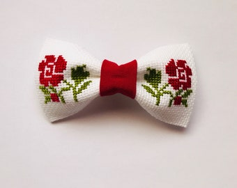 Red Flowers Hair Bow- Barrettes - hair clips- hand embroidery - cross-stitch -3 1/2 inches or 9 cm- gudimaO