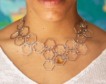 Hexagon Bib Necklace, Silver Tone with Citrine