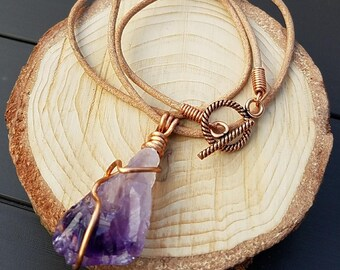 Amethyst Point Necklace, Wire Wrapped Gemstone, February Birthstone, Raw Amethyst, Rough Stone Necklace, Leather Cord, Simple Stone Pendant