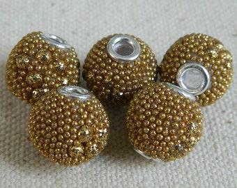 Beautiful Kashmiri Beads from India -- Golden Glitter Grain -- 13mm -- 5pcs.