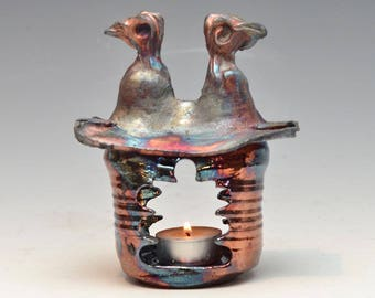 Tiny Home Tea Light Holder Lantern House Hermitage in Bright Blue and Copper Raku Ceramics