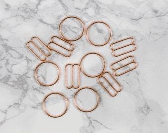 "3 Sets 5/8"" Rose Gold Metal Rings and Sliders Premium Jewelry Quality Bra Adjusters Nickel Free 12mm Bra Making Bramaking"