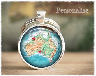 Personalized Keychain • Long Distance Friendship • Australia Map Keychain • Best Friend Gift • Personalized Gifts • Friend Keyring