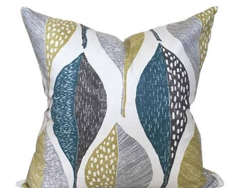 Pillow Cover with Multi Colored Leaves Printed on Cotton Slub