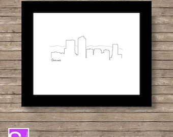 Denver Skyline Art Print 8x10 Printable
