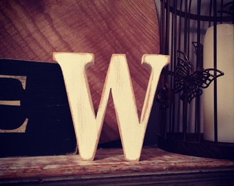 Freestanding Wooden Letter - Lowercase 'w' - 10cm - georgian font - various colours & finishes