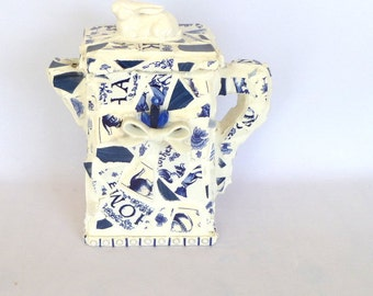 OOAK MOSAIC PITCHER in Blue and White