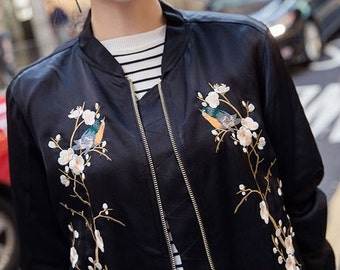 FIONA satin embroidered bomber jacket coat women trendy beautiful fashion stylish fashionista feminine