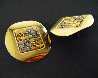 Vintage 80's Gold & Silver Flat Circle and Square Pierced Earrings