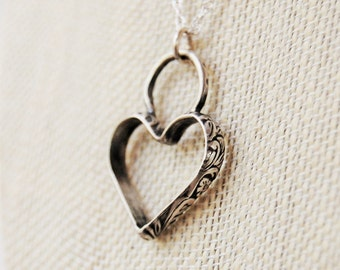 Boho Sterling Silver Heart Necklace - Heart Pendant - Heart Necklace - Hand Forged Jewelry - Metalwork Jewelry