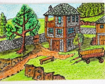 "Art print of aceo ink and pencil drawing-signed art for collectors- ""Cosy house"", from ""Rhodopean folklore"" series"