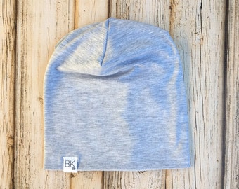 Light Heathered Grey Organic Bamboo stretch Slouch Beanie infant-Adult+ sizes