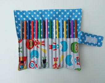 Wrap for fabric color printed pencils case super hero