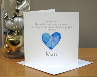 Personalised Get Well Soon Card - For Him - Washed Blue Heart - With Sympathy - Thinking Of You - Good Luck - Operation - Hospital - Cancer