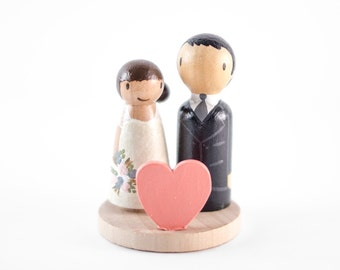 Heart Wedding Cake Topper - modern bride and groom cake topper - heart cake topper - small wedding cake topper - peg doll wedding topper