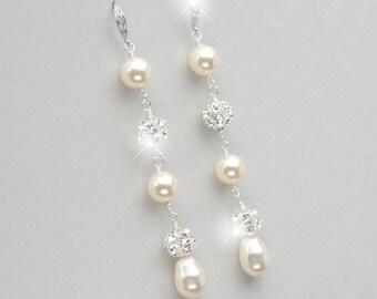 Long Pearl Earrings, Pearl Wedding Earrings, Rhinestone and Pearl Bridal Jewelry, Vintage Style Wedding Jewelry, Pearl Drop Earrings