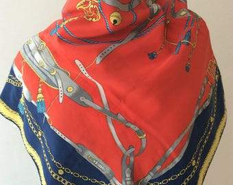 "Vintage foulard Zahir ""Harnachement""."