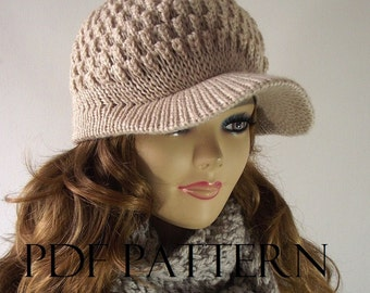 KNITTING HAT PATTERN Newsboy hat - Claire newsboy hat pattern - Woman Girl Hat Winter Hat Pdf Pattern with Pictures Tutorials