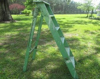 Vintage Wood Step Ladder, Wood Ladder, Painters Ladder, Farmhouse Decor Rustic, Display Shelf, Photo Prop, Green, Chippy Paint
