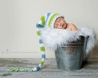 Long tail hat, elf hat, newborn hat, baby elf hat, crochet baby hat, crochet elf hat, newborn elf hat, stocking hat, baby hat, baby boy hat