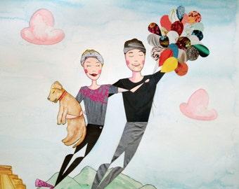 Hiking Theme Custom Couple Portrait - Traveling with Balloons - Original Mixed-Media Illustration