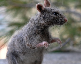Needle Felted Animal. Rat. Made to order
