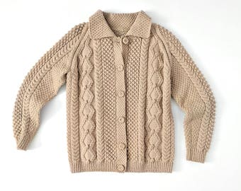 vintage handmade brown knit cardigan | cable knit button up sweater | wool sweater