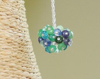 Blue Gemstone Pom Pom Necklace / Gem Cluster / Aquamarine Apetite  Aventurine Blue Topaz  Chrysoprase Onyx Iolite Kyanite Sapphire Tanzanite