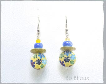 Button earrings liberty blue yellow mustard