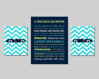 Race Car Nursery Art Race Car Nursery Decor Car Nursery Art Set of 3 Prints Race Car Driver Nursery Art  8x10 and 11x14 - CHOOSE YOUR COLORS