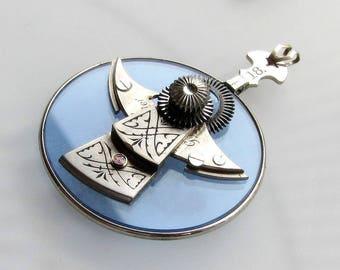 Steampunkology Silver Angel Necklace Pendant Antique & VTG Pocket Watch Parts Blue Optical Lens Christian Faith Catholic OOAK Gift Steampunk