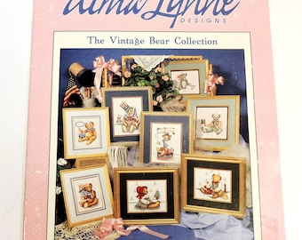 Vintage Bear Collection, 1991 Alma Lynne Designs Counted Cross Stitch Pattern Booklet, Patriotic Teddy Bears, Christmas itsyourcountry