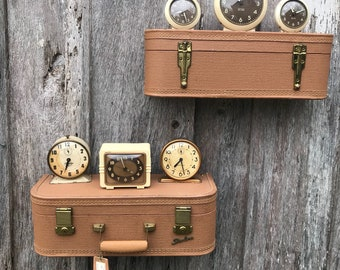 Pair of Wall Shelves Made from a Vintage Tan Starline Suitcase Luggage Shelf Repurposed Travel Inspired