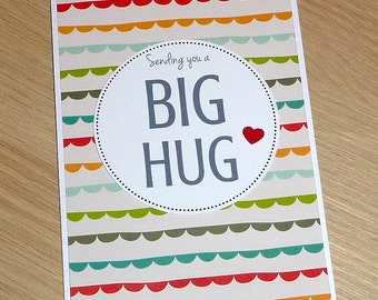 Sending you a Big Hug - Get well / Sympathy / Thinking of you card / bereavement -  handmade greeting card