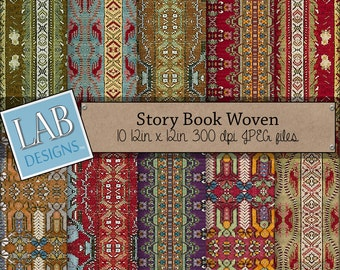 Story Book Woven Fairy Tale Fabric - Digital Paper Background Seamless Downloadable Boho Fabric Textured Scrapbook Papers for Personal Use