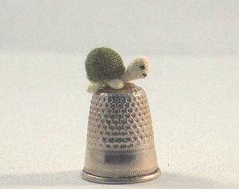 Micro crochet amigurumi turtle