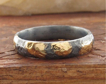 Rustic gold and black silver womens wedding band 4mm wide hammered surface.