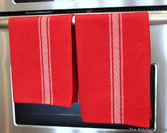 Scandinavian Tea Towel - Red with a White Border - 2 Lengths Available
