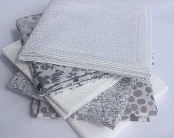 Fabri-Quilt Multi Print White and Gray Fat Quarter Fabric Bundle great for quilting applique sewing apparel clothing hand bags crafting